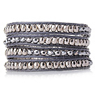 镀银水晶手链 四层皮绳缠绕编织款