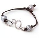 灰珍珠手链 单层皮绳款