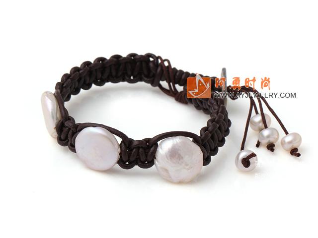 纽扣珍珠手链 单层皮绳编织款