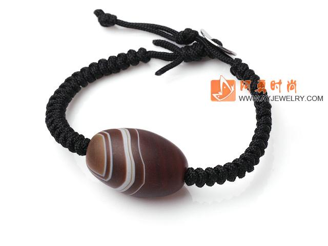 条纹磨砂玛瑙编织手链