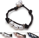 白粉黑珍珠皮绳手链 三条装
