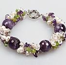 珍珠紫晶橄榄石手链