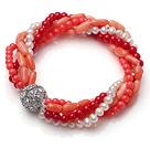 多层珍珠珊瑚弹力手链