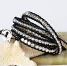 时尚款多层绕圈皮绳手链 水晶配无镍合金