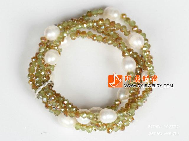 玉料水晶白珍珠多圈手环