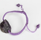 紫晶原石编织手链