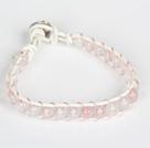 粉晶皮绳手链