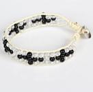 白水晶黑玛瑙皮绳手链