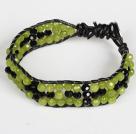 橄榄玉黑水晶皮绳手链