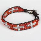 切面红玛瑙白水晶皮绳手链