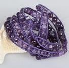 天然紫晶皮绳6层绕圈手链