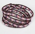 天然紫晶粉玉白水晶皮绳四层绕圈手链