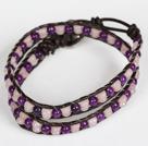 紫玉芙蓉石皮绳多层绕圈手链