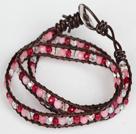 紫玉粉玉白水晶皮绳多层绕圈手链