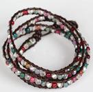 白水晶彩色玛瑙皮绳多层绕圈手链