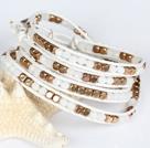 白水晶黄铜块四层绕圈手链