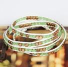 浅绿色水晶黄铜块四层绕圈手链
