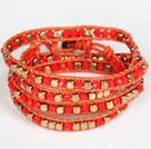 红水晶黄铜块四层绕圈手链