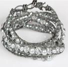白水晶灰色仿珍珠皮绳多层绕圈手链