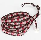 芙蓉石粉玉玫红玛瑙皮绳绕圈手链