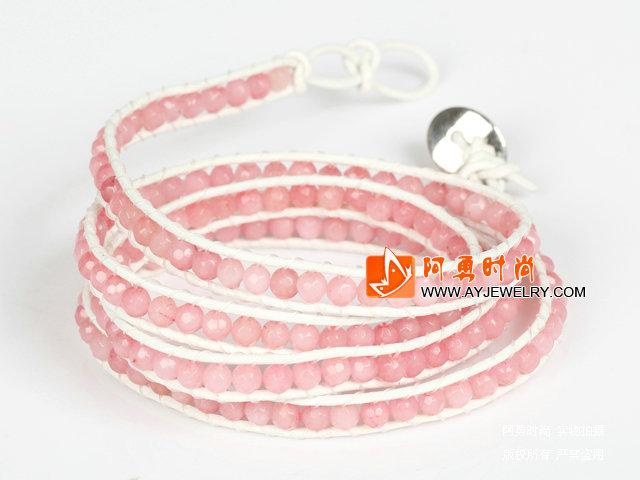 4mm粉色糖果玉四层绕圈手链