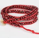 3-4mm酒红色珍珠三层绕圈手链
