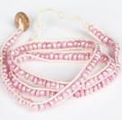 3-4mm粉珍珠三层绕圈手链