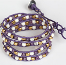 紫晶白瓷石黄铜块多层绕圈手链