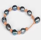 10-11mm黑珍珠粉皮绳手链