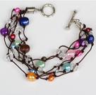 混色多彩珍珠水晶手链