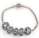 时尚灰蓝色欧洲珠串珠手链