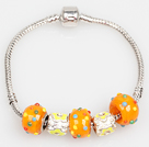 时尚桔色欧洲珠串珠手链