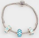 时尚浅蓝色欧洲珠串珠手链