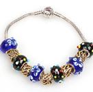 时尚蓝色和黑色欧洲珠串珠手链