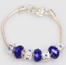 时尚深蓝色欧洲珠串珠手链
