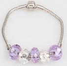 时尚浅紫色欧洲珠串珠手链