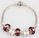 时尚红褐色欧洲珠串珠手链