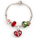 时尚红绿色欧洲珠串珠手链 配许愿盒吊坠
