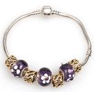 时尚深紫色欧洲珠串珠手链