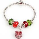 时尚红绿色欧洲珠串珠手链 配红色许愿盒吊坠