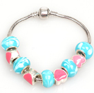 时尚粉蓝色欧洲珠串珠手链