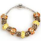 时尚黄色欧洲珠串珠手链