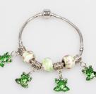 时尚绿色欧洲珠串珠手链 配青蛙吊坠