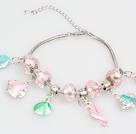 时尚粉色欧洲珠串珠手链 配海马贝壳吊坠