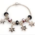 时尚黑色欧洲珠串珠手链 配星星吊坠