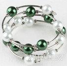 绿白贝壳珠手链手环 弹簧款