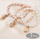 巴洛克染色珍珠手链  单层吊坠弹力线款 3件装