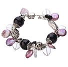 紫玛瑙纽扣珍珠白水晶手链 唯美款