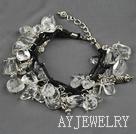 白水晶圆角碎石手链 合金链charm款