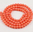4mm圆形橘色珊瑚
